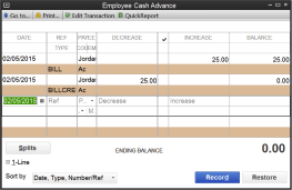 Cash Advance workflow for Tallie in QuickBooks Desktop